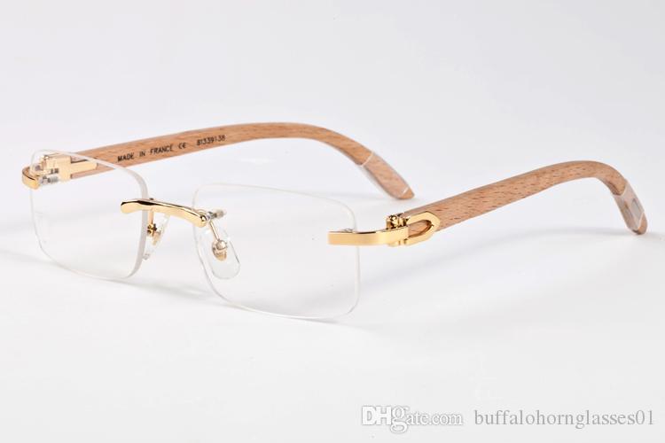Новая мода Спорт Буффало Хорн Mens ретро Вуд солнцезащитные очки Человек и женщин Черный Коричневый Прозрачный объектив бескаркасных Lunettes Gafas De золь