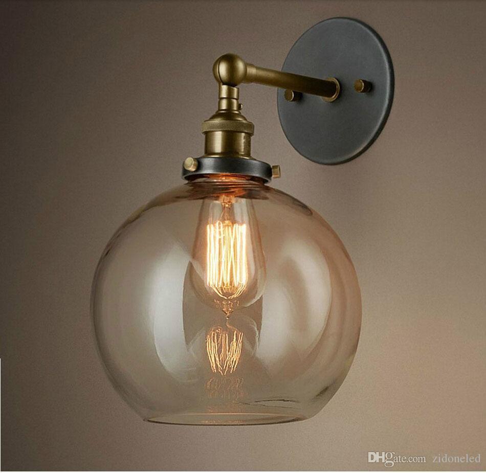 Vintage glass led wall lighting edison E27 wall sconces bedside light bar coffee restaurant indoor lights fixture