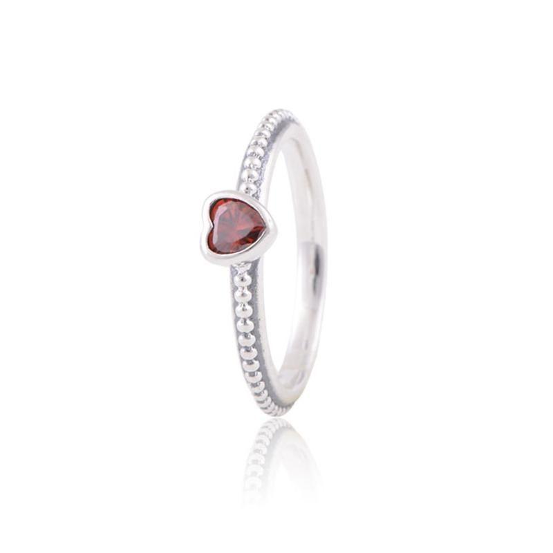 5 pezzi / lotto stile originale zirconi anelli delicati cuore rosso 925 per le donne ragazza migliore qualità H9