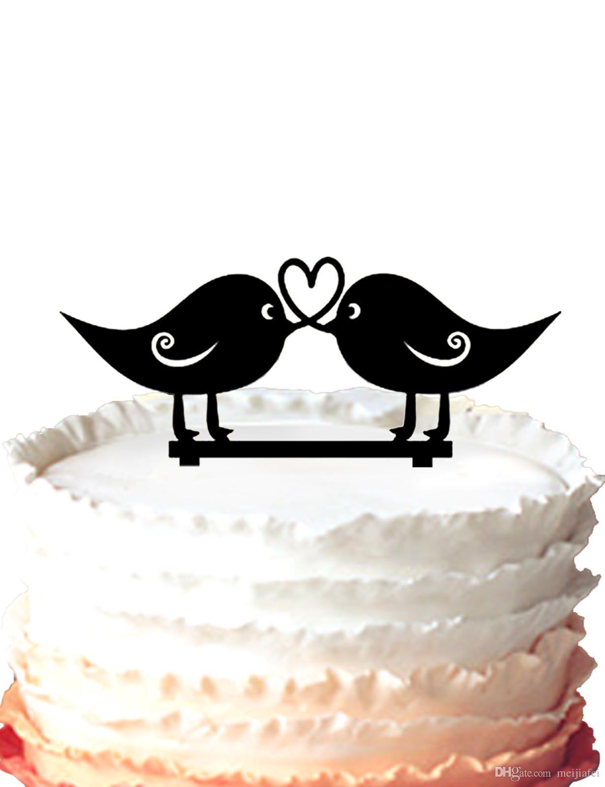 2019 Wedding Cake Topper Two Cute Love Birds Acrylic Cake Topper Heart Design For Option From Meijiafei 18 21 Dhgate Com