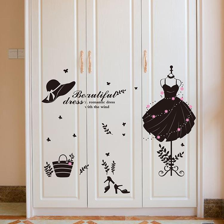 Beautiful Dress Wall Sticker Murals DIY Evening Dress Wall Decals for Living Room Bedroom and Shop Window Decoration