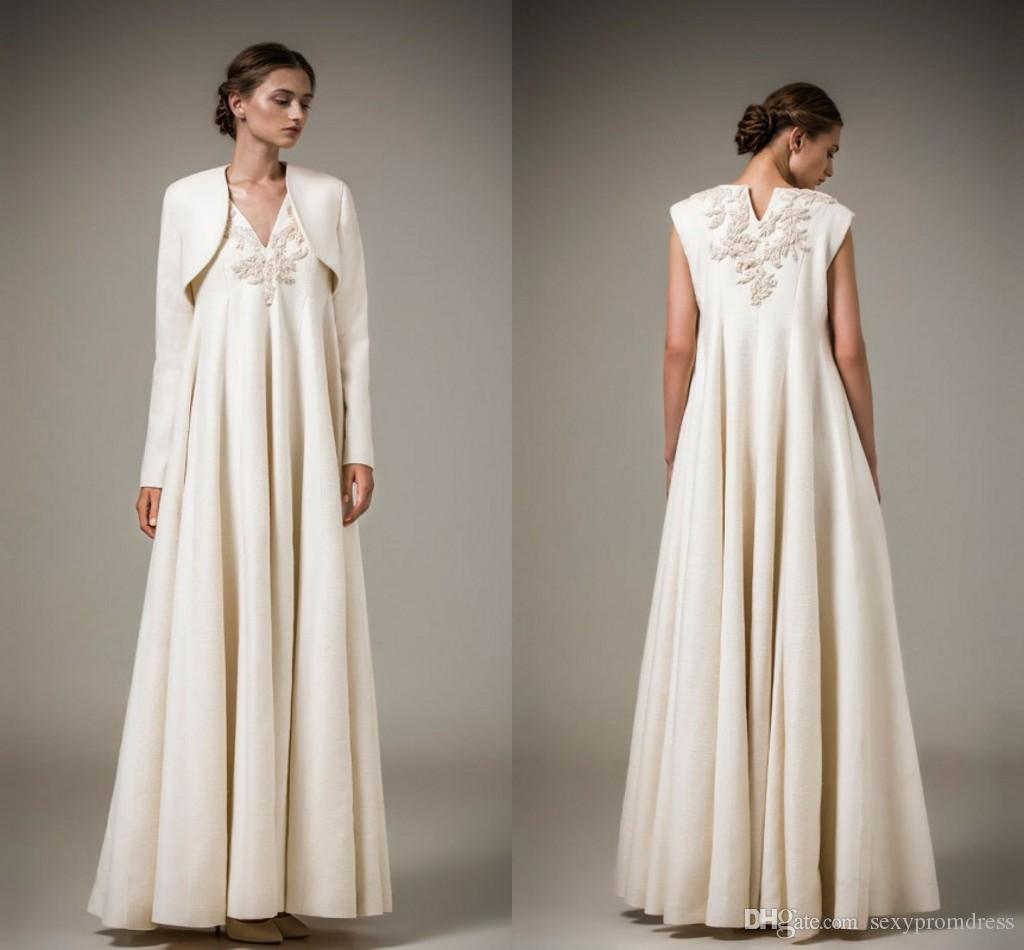 Vintage Empire V Neck Ashi Studio 2016 Evening Dresses With Long Sleeve Jacket Lace Applique Satin Ruffles Floor Length Formal Prom Dresses