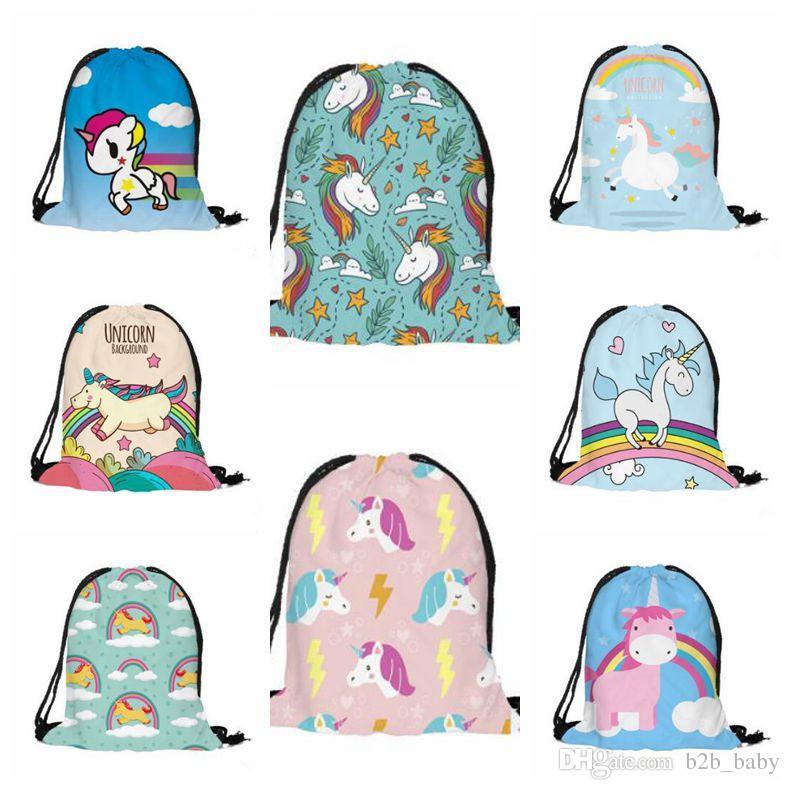 18 Stili 3D Digital stampato Unicorn Drawstring Bag Cartoon Unicorn Zaini Borse da viaggio Borse da spiaggia 38 * 30 cm CCA7481 50 pz