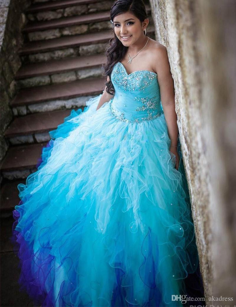 Sexy Ball Gown Quinceanera Dresses 2017 Beaded Crystal Ruffles ...