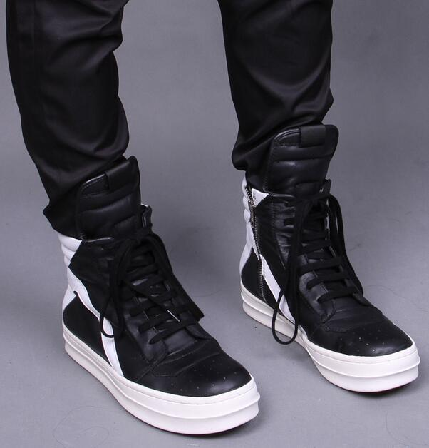 Top Quality New Owens Geobasket Leather Boots Black With White High Top  Leather Sneakers Side Zipper Couples Men Boot Shoes 100% Real Photos Silver