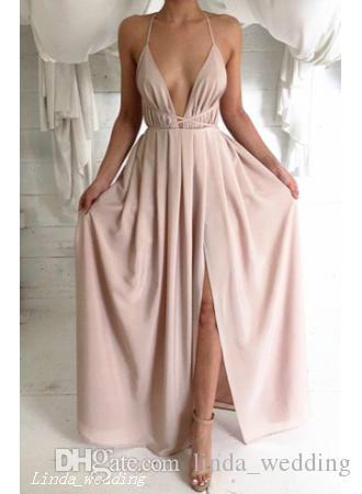 2019 vestito da promenade di spacco laterale sexy profondo scollo av lungo chiffon vestito da occasione speciale abito da sera da sera plus size abiti da festa