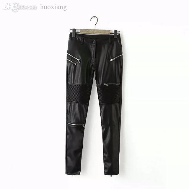 Wholesale-2016 Fashion Women Leather Zipper Decoration Leather Pencil Pants Pleated Stitching Tight Pants YN-3624