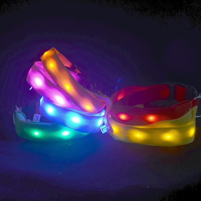 Nuevo tamaño de doble cara puntos de emisión de luz collar de perro collar de mascota perro luminoso flash collar de luz led