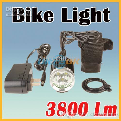 الجملة الكثير 10 3800 لومينز 3x XM-L T6 الصمام 4 وضع الدراجة دراجة ضوء مصباح + 6400 مللي أمبير بطارية + شاحن
