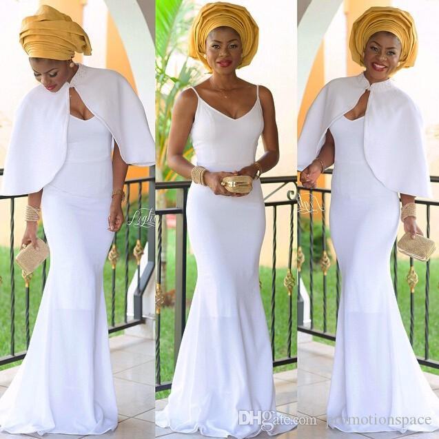 우아한 나이지리아 이브닝 드레스 화이트 여성 인어 이브닝 드레스 자 켓와 긴 Vestidos 드 페 스타 아프리카 이브닝 가운