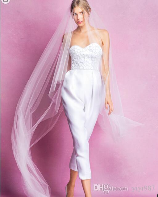 Pantaloni di moda di alta qualità Abiti da sposa senza spalline sexy all'avanguardia elegante elegante lusso spaghetti abiti da sposa abiti personalizzati