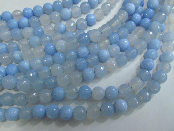 5strands 6 8 10mm Chalcendony blue Agate Carnerial chalcendony bead Gem Round Ball cracked faceted mixed loose bead