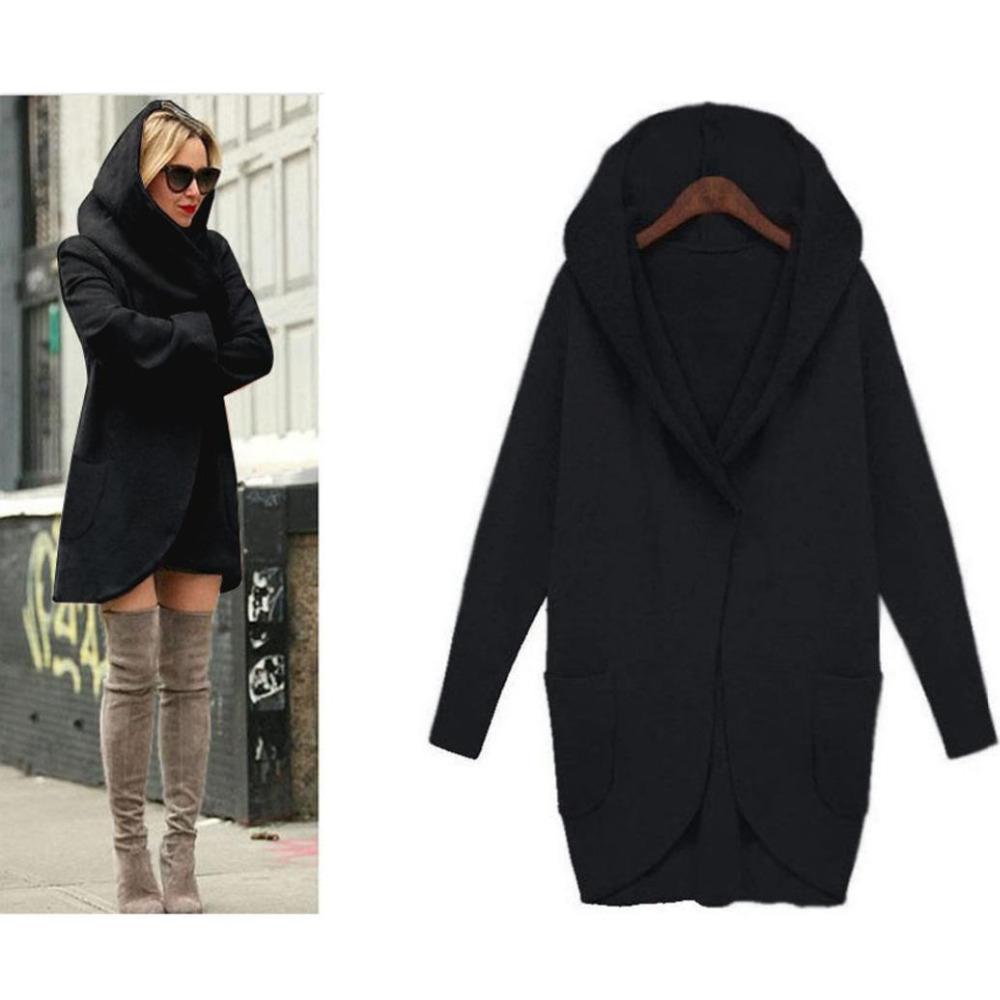 Женские куртки Оптовые - корейский стиль хлопчатобумажные женщины базовые пальто тонкий длинный пальто карманный с капюшоном ветровка Parka Enterwear Cardigan