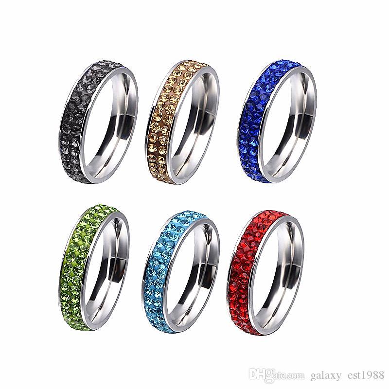 la miscela all'ingrosso colora gli anelli dei monili del partito di modo dell'acciaio inossidabile lucidati delle donne dell'argilla del cristallo di rocca di 36pcs due file