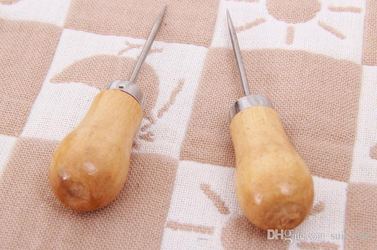 hot DIY hand tools binding awl Man playing with wooden handle carved one thousand needle through drilling wholesale shoe repair garish