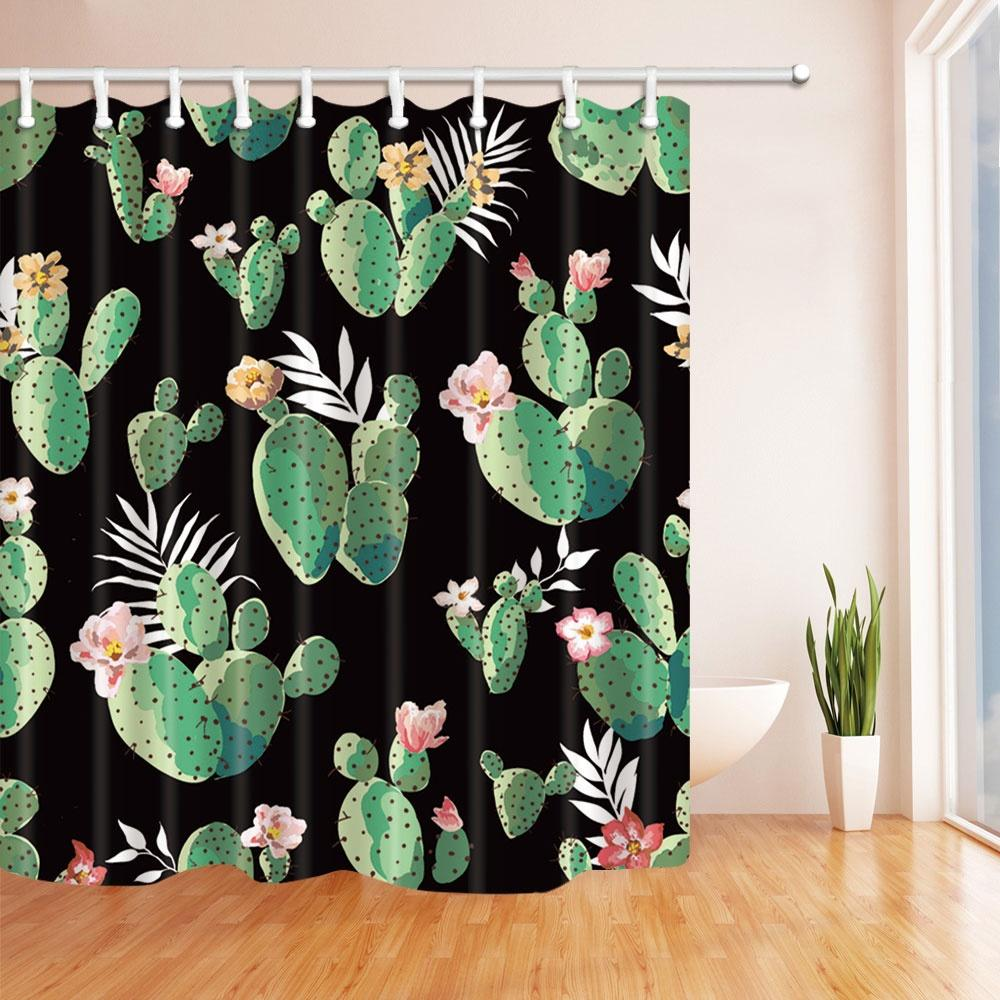 Cactus Shower Curtain Bathroom Decor Green Plant Flower Waterproof Polyester Fabric Home Bath Accessories Curtains Sets 70 X 70 Inch Cheap