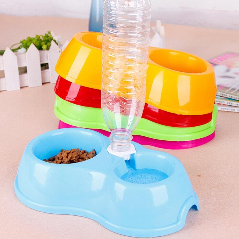 Hot Sale Free Shipping Dual Port Dog Automatic Water Dispenser Feeder Utensils Bowl Cat Drinking Fountain Food Dish Pet Bowl