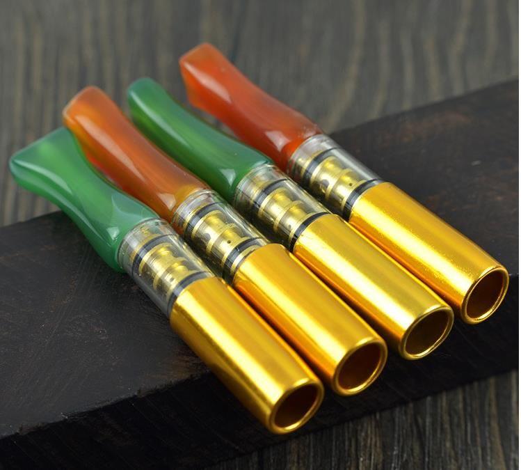 천연 붉은 마노 l 녹색 마노 담배 홀더 슈퍼 필터 담배 홀더, 유리 봉, 유리 물 파이프, 금연 파이프