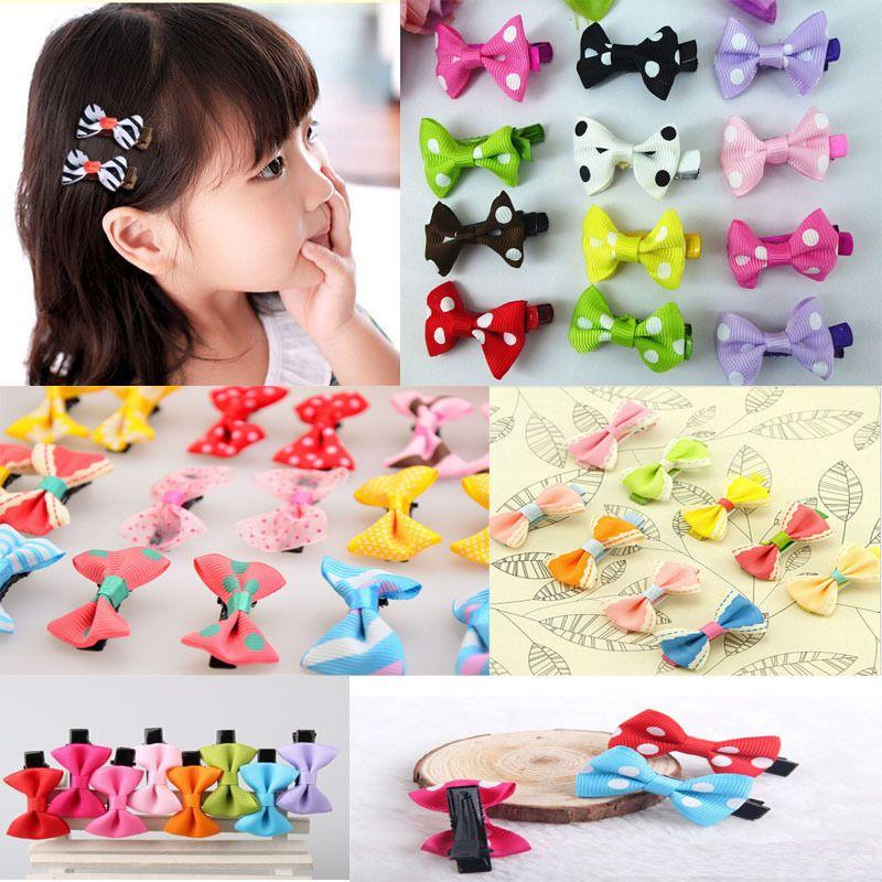 Wholesale- 10Pcs Toddler cute Girl Hair Clip Ribbon Bow Baby Kids Satin Bowknot Headband Novelty Barrettes