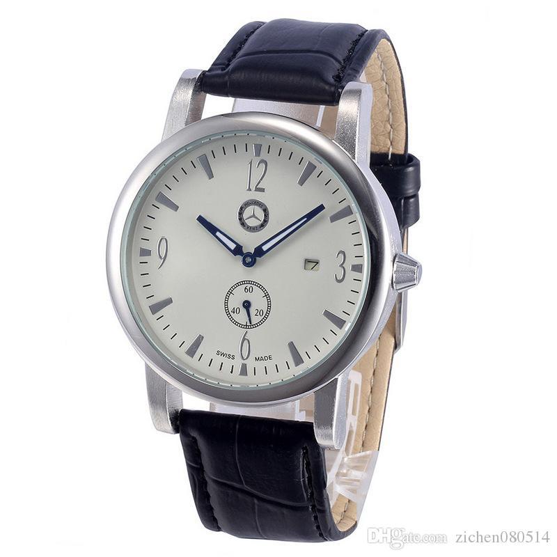 Perte promotion Mercedes Marque Montres Hommes Étanche Bracelet En Cuir Date Montre-Bracelet petit cadran peut travailler 606