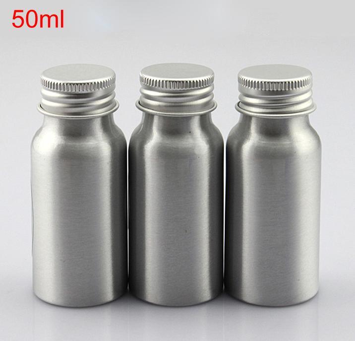 Пустые круглые бутылки алюминия Косметик 50мл 1,7 контейнер металла серебра ОЗ для косметической упаковки,бутылки эфирного масла с крышкой