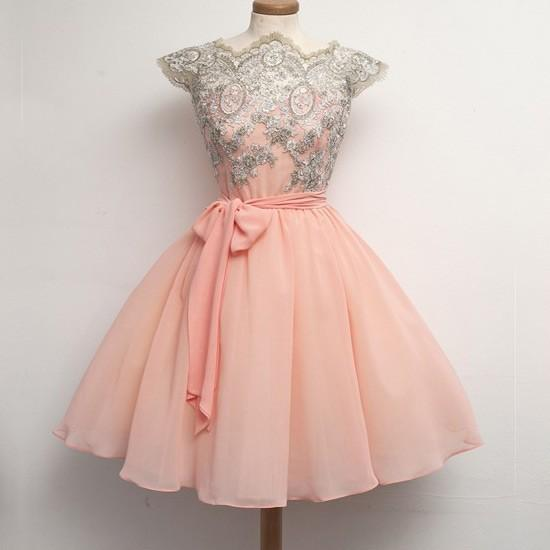Vestidos De Fiesta 2016 Short Puffy Prom Dresses Jewel Cap Sleeve A ...