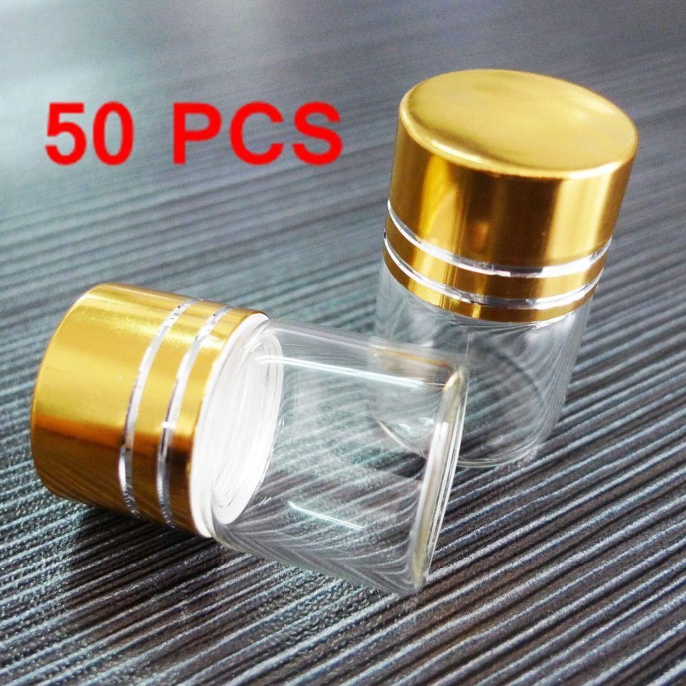 Super Deal 50 PCS Tranparent Lot Small 5ML (22 * 30) Frascos vacíos de botellas de vidrio con tapón de rosca chapado en oro (tapas) para aceite esencial