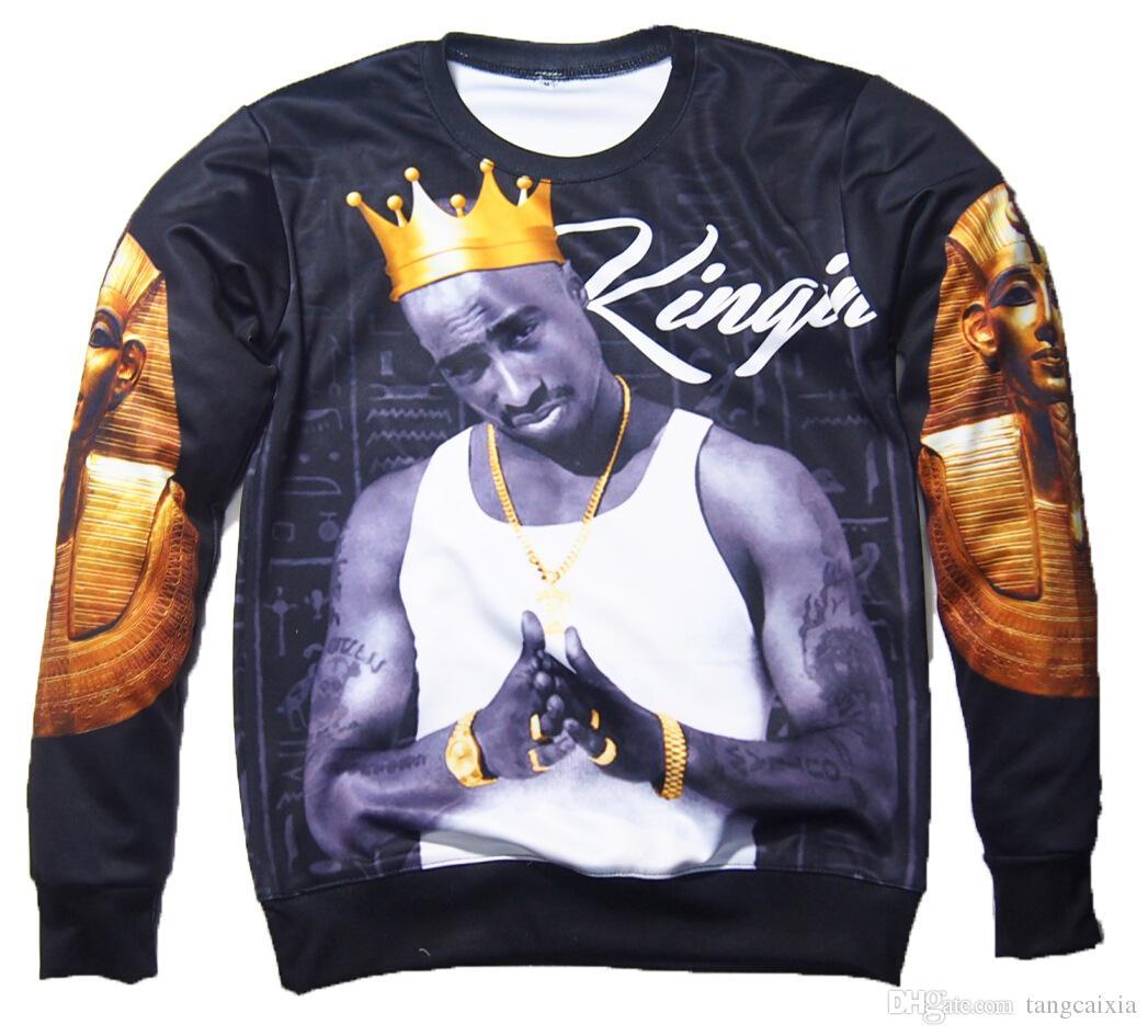Wholesale Fashion 3D Sweatshirts Men Hip Hop Print Tupac 2Pac Crown Hoodies Pullovers Clothing Free Shipping