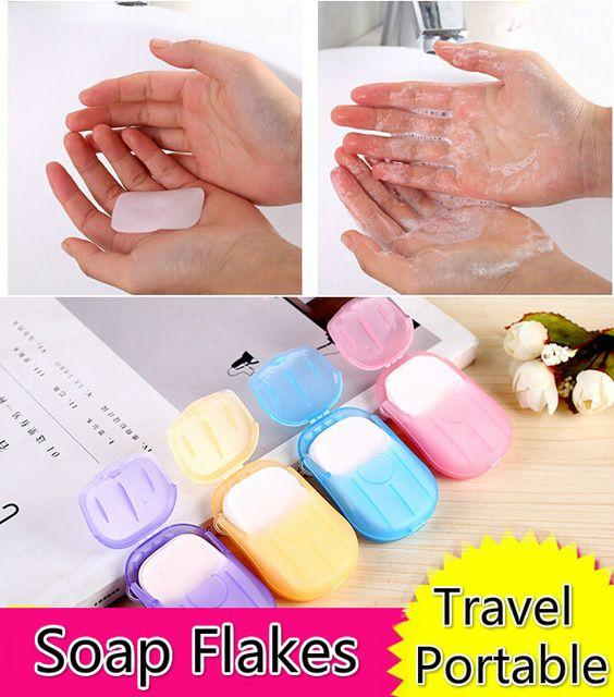 20 Blatt / Box Travel Camping Tragbare Seifenflocken Seifenpapiertabletten Clean Paper Soap Slice Waschen Beliebte Artikel mischen Farben