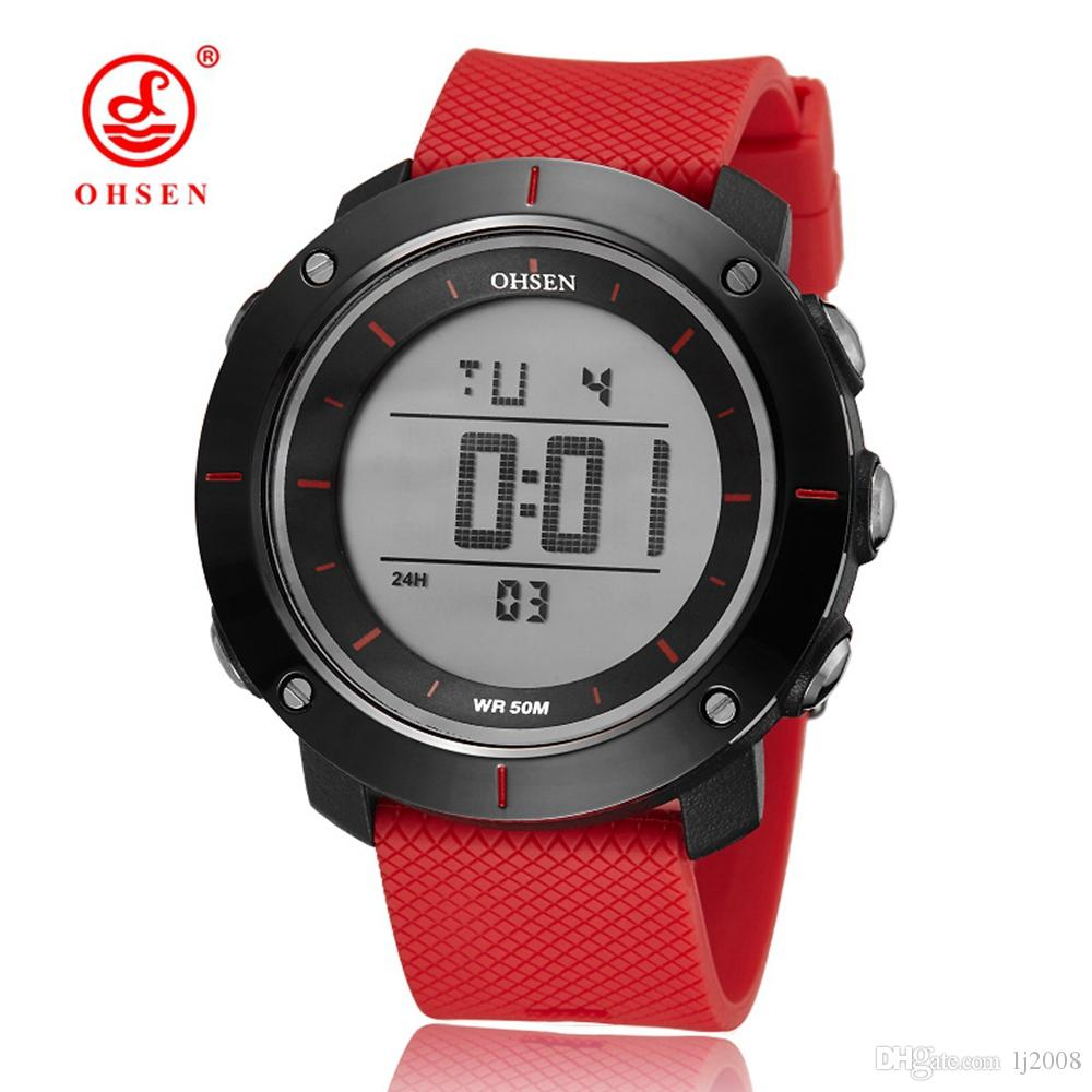 2017 NEW OHSEN Digital Fashion Casual Rubber Man Mens Male Watches Waterproof Wristwatch Alarm Sports Hand Watches With El light Clock Gift