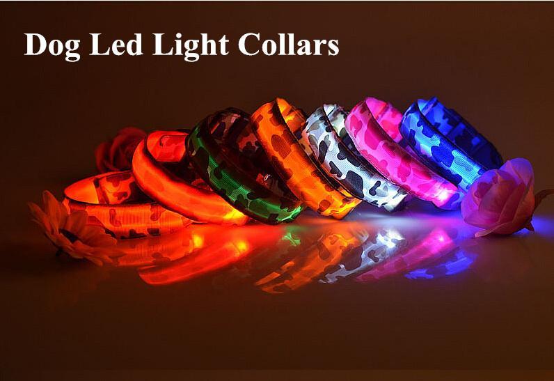 D10 Free shipping New Pet Dog Collar Pet nylon Camo Light collar collar LED flash luminous collars