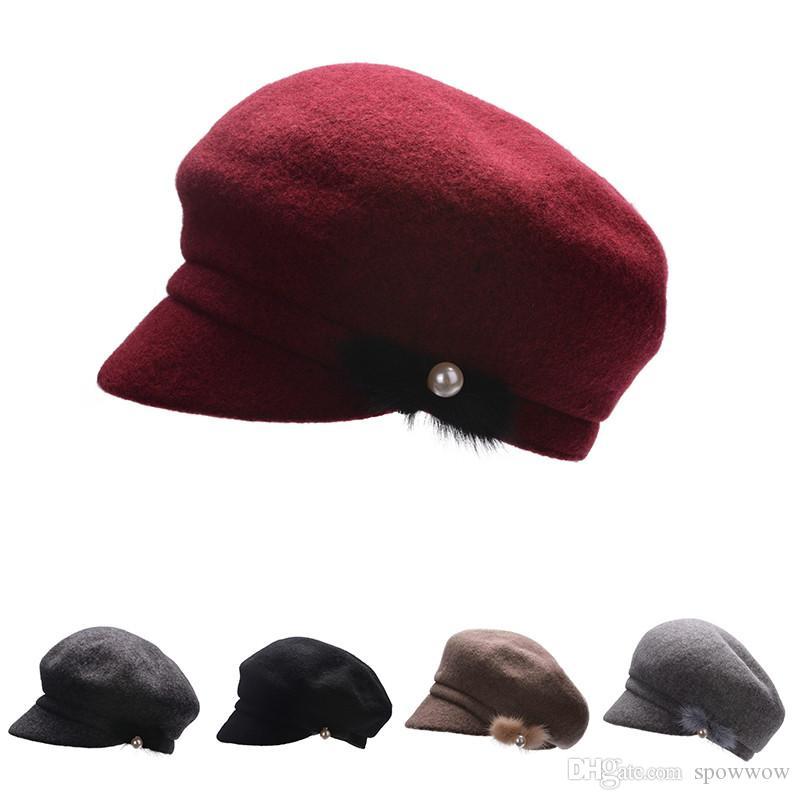 Unisexe À La Mode Mélange De Laine Doux Newsboy Casquette Visor Cabbie Pilote Hiver Chaud Packable Beret Hat T279