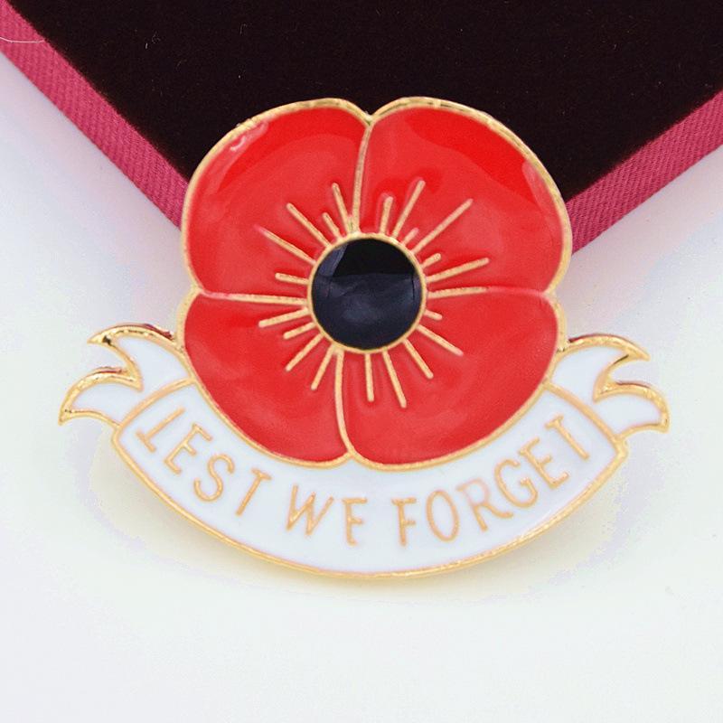 """Distintivo d'oro bianco """"Per non dimenticarsi"""" Smalto Rosso Papavero Fiore Spilla Regalo Giornata della Memoria DHL LIBERA il trasporto"""