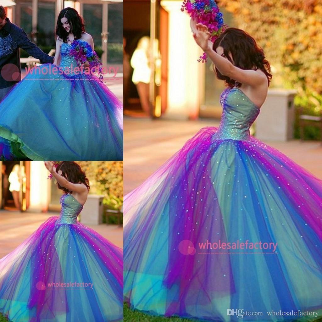 블루와 퍼플 레인보우 Tulle Quinceanera Dresses 아가 코르 셋 백 비즈 프릴 볼 가운 빈티지 댄스 파티 드레스 공식 드레스