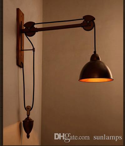 Bar Rustic Spindle Pulley wall lamp light E27 led bulb Arandela vintage Industrial lighting Coffee shop Retro wall light sconces