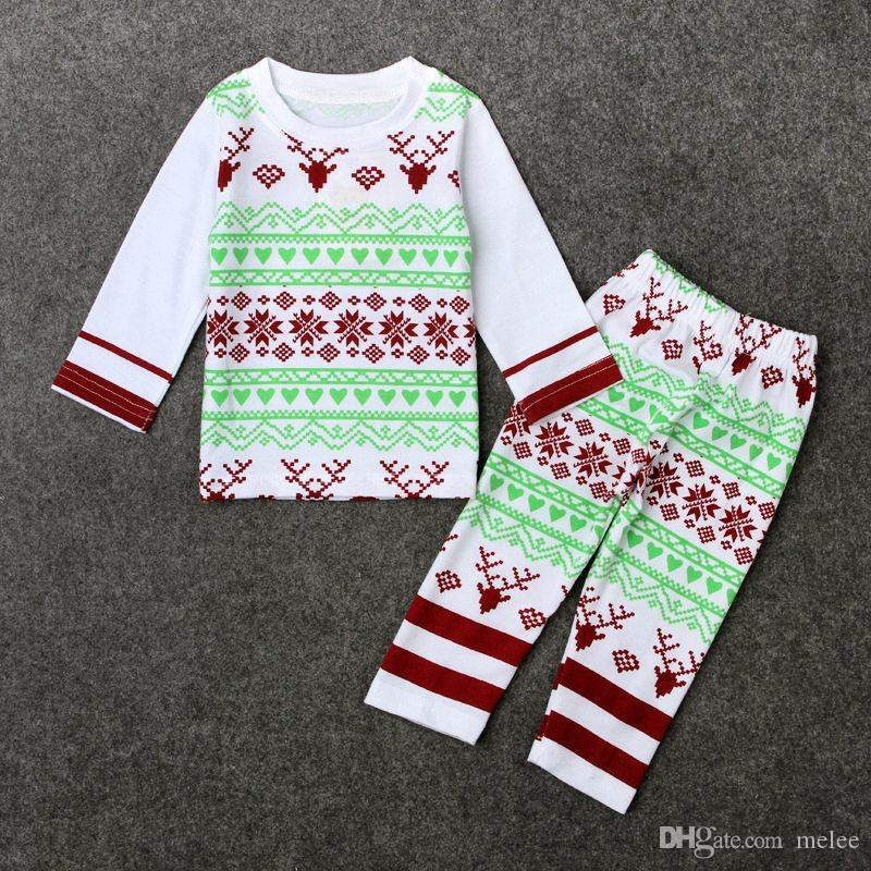 2pc Christmas Newborn Baby Girls Boys Clothes Set Outfits Long Sleeve Tops Pants