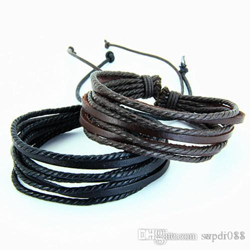 высокое качество старинные кожаные браслеты любовь Шарм женщины мужчины Мужской панк-рок обертывания браслет ретро pulseira де couro, хомбре