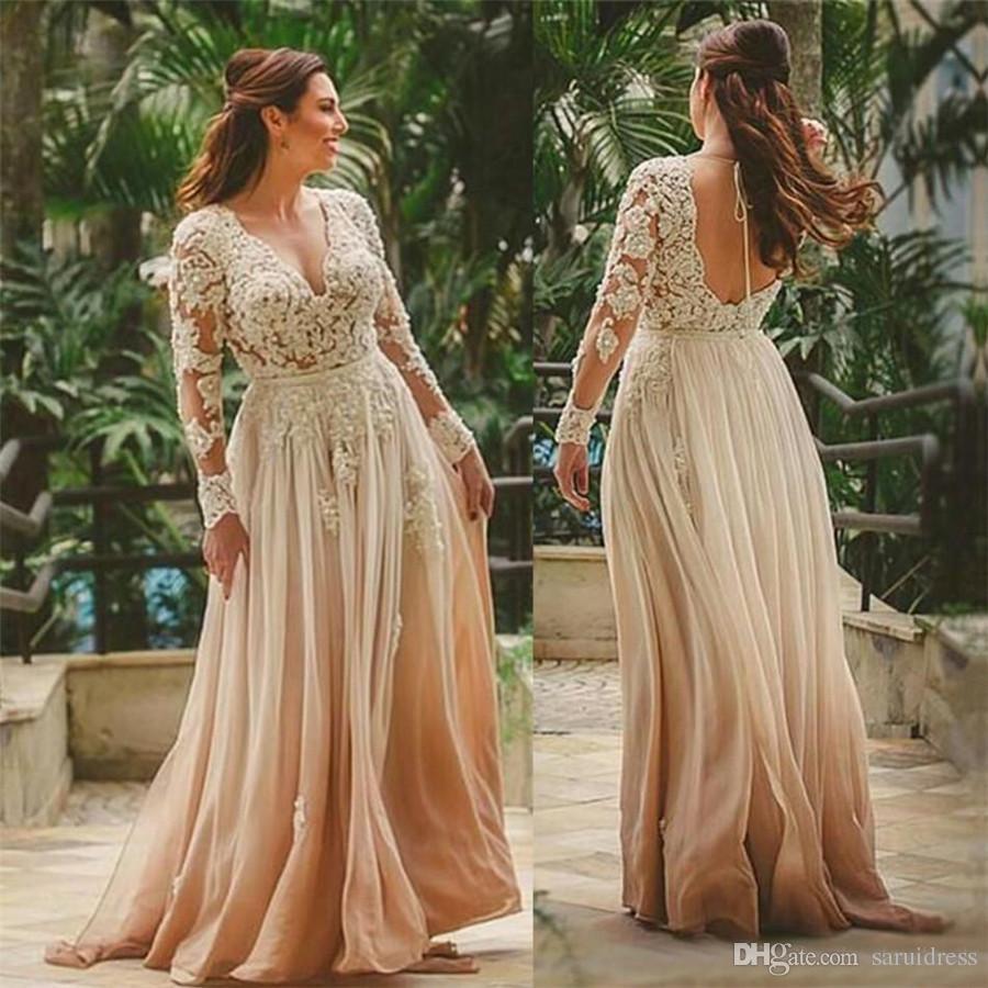 A-Line Bridal Probite Beach Индийский стиль без спинки кружева Vestido de Novia Sexy Deep V-образным вырезом красоты Boho Beach Dong Campagne Wedding платье