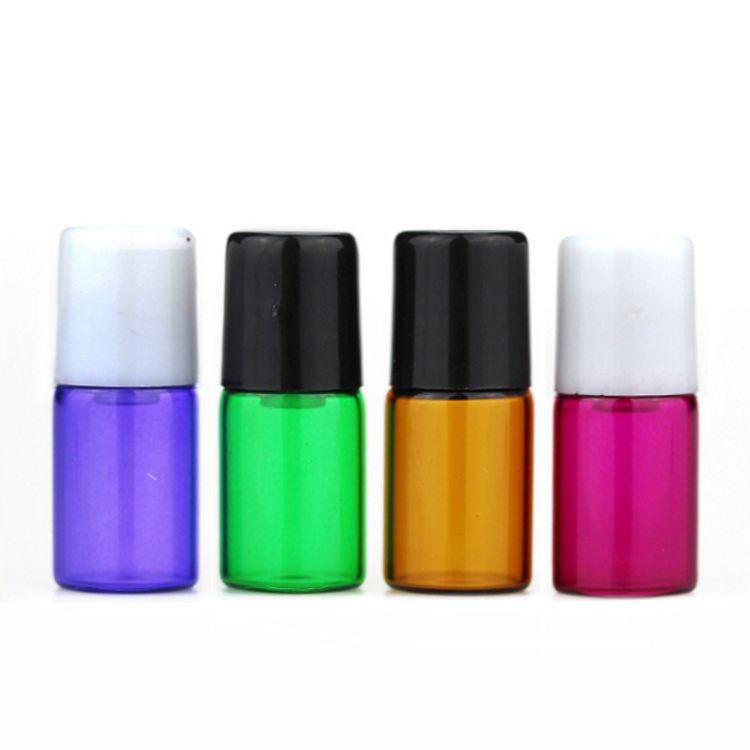Hot 1200 SZTUK 2ml Puste Mini Roll-On Butelki szklane Z Metalowym Walcem Czerwony Purpurowy Niebieski Zielony Bursztynowy Wyczyść Essential Oil Próbki Butelki 2CC