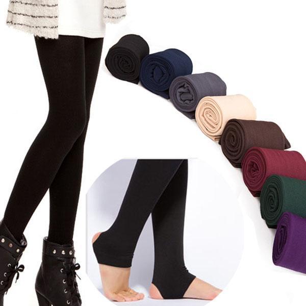 Atacado-Atacado de Alta Qualidade Mulheres Outono Inverno GROSSO Quente Legging Escovado Forro Stretch Fleece Pants Atropelar Pés Leggings