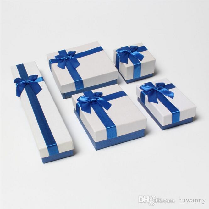 Blue Ribbon Jewelry Boxes Necklaces Bracelets Rings Earrings Jewelry Set Storage Box Cajas De Regalo Gift Boxes Caixas Para Presente 0671WH