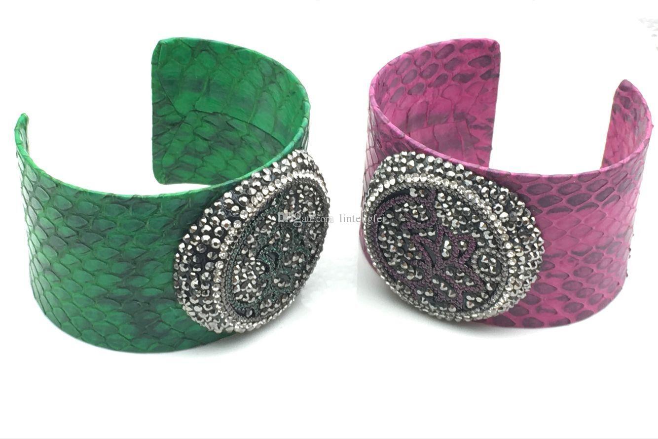 Rosa blu verde pelle di serpente 30 centimetri ampia bracciali polsini di alta qualità per le donne gioielli uomini braccialetto con zirconi colorati