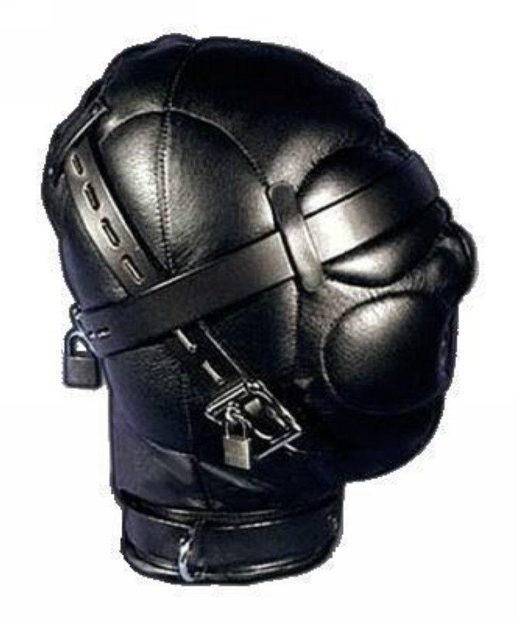 Heavy Duty PU Couro Acolchoado Capa Hood Máscara Halloween 11 H # R501