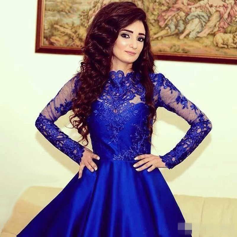 Graduación Encaje Vestido Azul Mini Manga Larga Apliques Satén De Con Fiesta Compre Vestidos 2018 Corto Elegantes Real IHWD2YE9