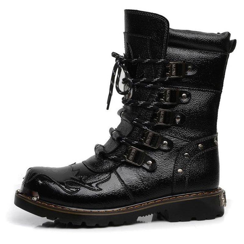 Los hombres botas militares botas de cuero genuino del punk gótico masculino de la motocicleta Botas Hombre 5 # 20 / 20E50