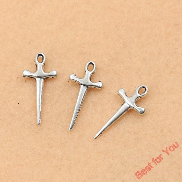 100 pcs Tibetano Banhado A Prata Do Vintage Cruzes Encantos Da Espada Pingentes Para Fazer Jóias Diy Handmade 20x9mm fazer jóias