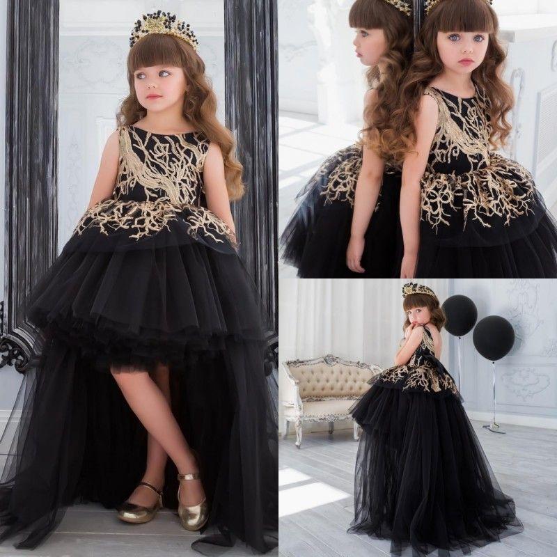 Abito da ragazza di fiore con paillettes dorate con abito da ballo nero da treno Hi Lo Little Girls Pagesnt Dress Abiti formali a file per bambini