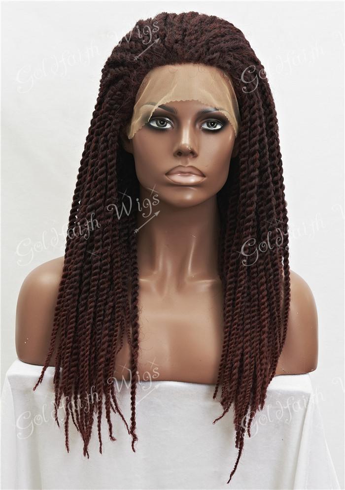 Schwarz Bordeaux-Mischung synthetische flechten Haare Perücke Voller Kanekalon Geflochtene Spitze-Front-Perücken für schwarze Frauen, Braid Perücke für Afrika Amerikaner