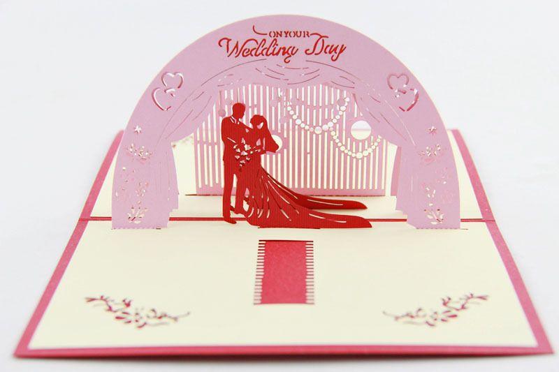 Cartolina d'auguri di nozze di 3d biglietti di auguri di saluto di pop-up di carte di auguri di matrimonio di carte di auguri di matrimonio romantico creativo