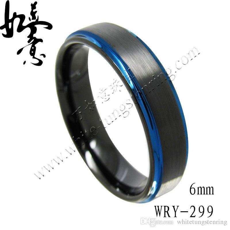 6mm Flat Step Edges nero e piacevole blu placcato in carburo di tungsteno fascia WRY-299